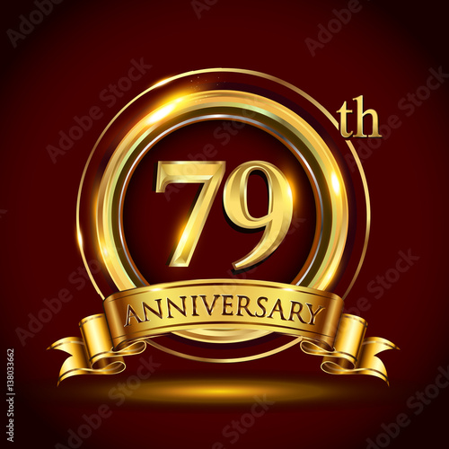 79th golden anniversary logo with gold ring and golden ribbon 79th golden anniversary logo with gold ring and golden ribbon vector design for invitation card stopboris Image collections