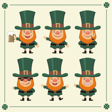 Set Isolated Saint Patrick In Different Poses. Collection Saint Patrick In Cartoon Style.