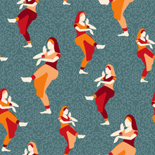Indian Woman Dancing Vector Isolated Dancers Silhouette Seamless Pattern