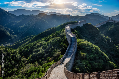 Deurstickers Chinese Muur the Great Wall is generally built along an east-to-west line across the historical northern borders of China.