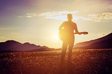 Man Guitar Sunset Mountains Co...