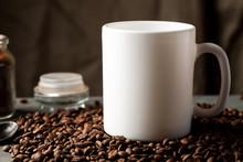 White Coffee Mug With Coffee B...
