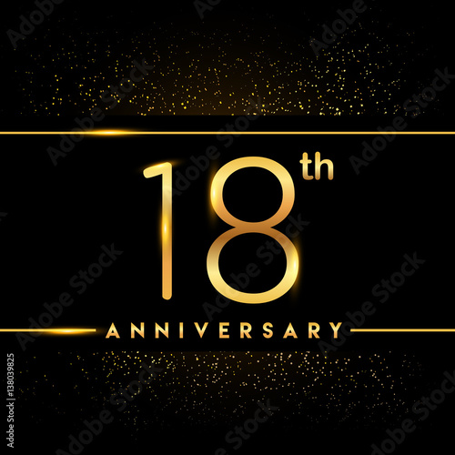 Photographie  Celebrating of 18 years anniversary, logotype golden colored isolated on black b