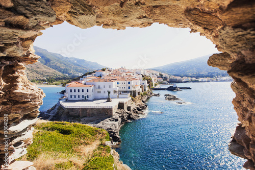 Piękny widok na Chora, kapitał wyspy Andros, Cyklady, Grecja
