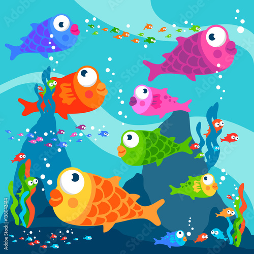 Colorful fish swimming underwater. Poster