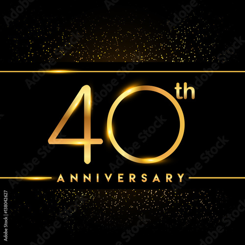 Poster  Celebrating of 40 years anniversary, logotype golden colored isolated on black b