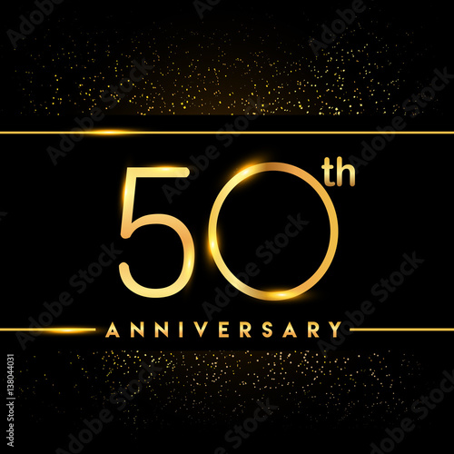 Poster  Celebrating of 50 years anniversary, logotype golden colored isolated on black b