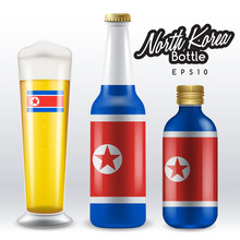 World Flag Wrapping On Beer Bottle : North Korea : Vector Illustration