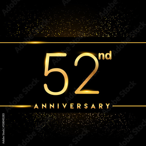 Poster  Celebrating of 52 years anniversary, logotype golden colored isolated on black b