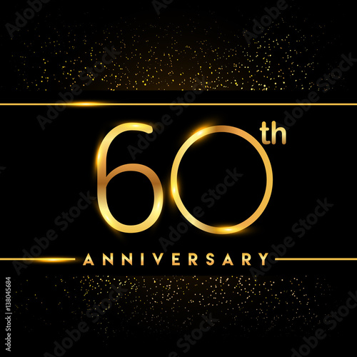 Fotografia  Celebrating of 60 years anniversary, logotype golden colored isolated on black b