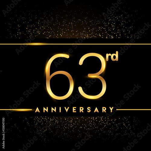 Tela  Celebrating of 63 years anniversary, logotype golden colored isolated on black b