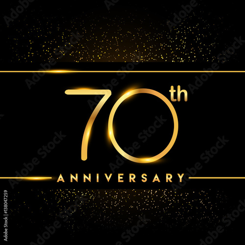 Fotografia  Celebrating of 70 years anniversary, logotype golden colored isolated on black b
