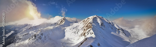 Fotobehang Bergen Panoramic winter view of west Tatra mountain. Wolowiec peak