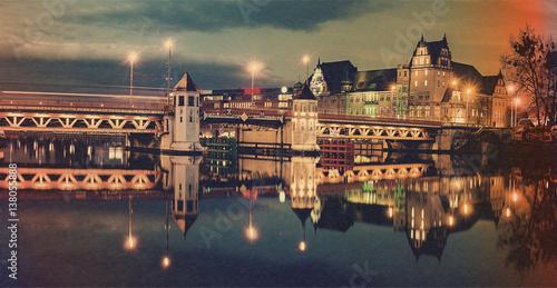 Obraz landmarks in the old city of Szczecin,stylized old photo - fototapety do salonu