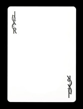 Joker Colorless Playing Card, Isolated On Black Background.