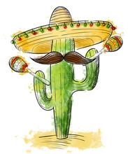 Cinco De Mayo Sombrero, Maracas And Jalapeno Mexico Set