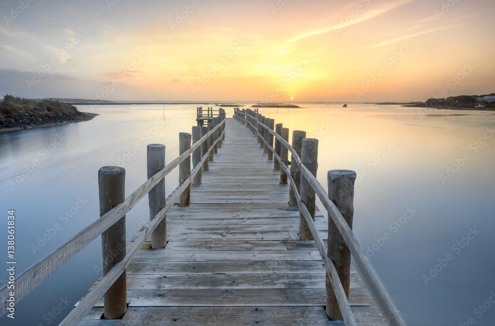 Fototapeta Morning sunrise over the dock