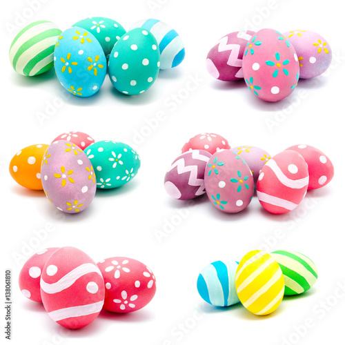 Stampa su Tela  Collection of photos perfect colorful handmade easter eggs