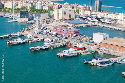Printed kitchen splashbacks Athens Port of Barcelona. Fishing boats scattered on the dock fishing nets