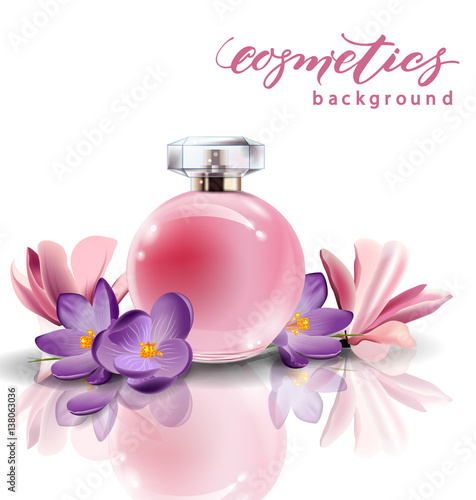 Pink bottle womens perfume with spring flowers crocuses vector pink bottle womens perfume with spring flowers crocuses vector mightylinksfo