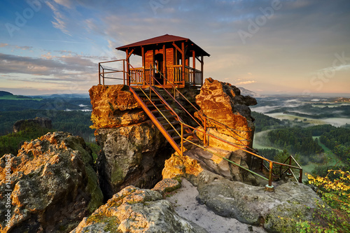 Spoed Foto op Canvas Grijze traf. Sunrise in beautiful mountain Czech switzerland with inversion, viewpoint