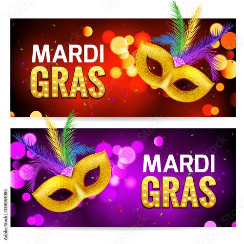 Fotografiet Mardi Gras brochure banner design