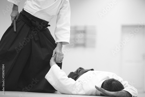 Canvas Print Testing of special exercises in training Aikido with a dagger