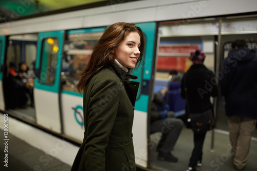 young woman in the subway.