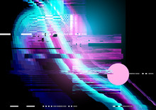 Glitch And Distorted Texture Pattern Background. Vector Illustration