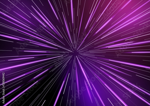 Fotomural  Fast moving at light speed -  retro warp star beams! Abstract vector background