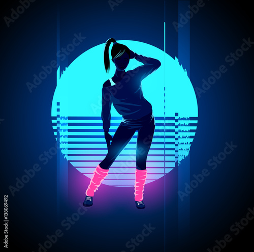 Valokuva  Retro 1980's glowing neon dancing lady with glitch sunset background