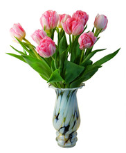Bouquet Of Pink Tulips Vase Isolated On White Background.