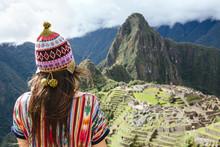 Peru, Machu Picchu Region, Female Traveler Looking At Machu Picchu Citadel And Huayna Mountain