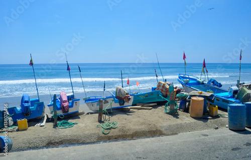 Fishing boats in the coast of San Lorenzo, Ecuador near
