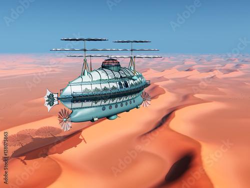 Poster Corail Fantasie Luftschiff über einer Sandwüste