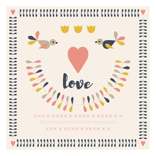 Vector Retro Style Illustration With Stylized Twigs, Birds And Hearts In Pastel Colors.