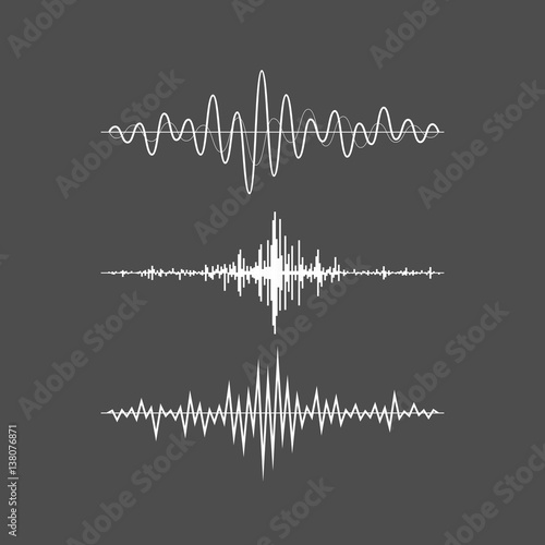 Music sound waves set isolated on gray background Wallpaper Mural