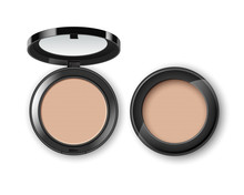 Vector Face Cosmetic Makeup Powder In Black Round Plastic Case Top View Isolated On White Background