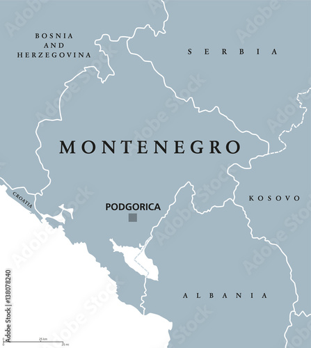 Photo Montenegro political map with capital Podgorica and neighbor countries