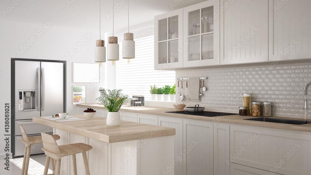 Skandynawska klasyczna kuchnia z drewnianymi i białymi detalami, minimalistycznym wystrojem wnętrz <span>plik: #138081021 | autor: ArchiVIZ</span>