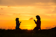 Muslim Girls Silhouette Blurred Background,Silhouettes,the Light Of Faith, Hope, Faith, Supplication,Hand Of Muslim People Praying With Mosque Interior Background,
