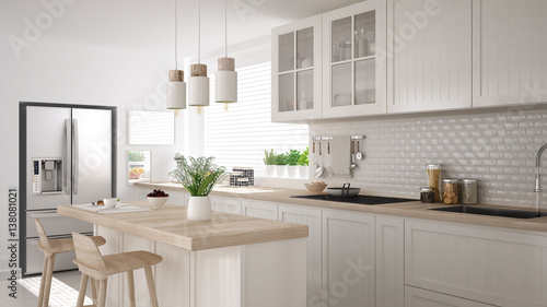 Carta da parati Scandinavian classic kitchen with wooden and white details, minimalistic interio