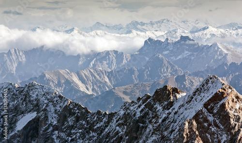 Fotografie, Tablou  Alpine landscape, view from Zugspitze mountain. Bavarian Alps.