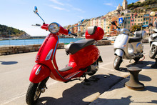 Red Vespa In The City