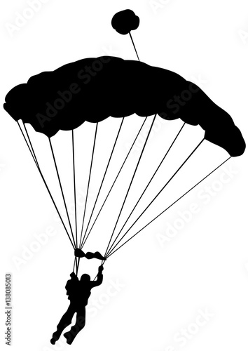 Man on parachute sports on a white background Wallpaper Mural