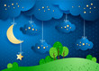 Surreal landscape by night with hanging clouds and stars