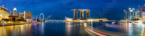 Photo Stands Singapore Singapur Marina und Skyline am Abend