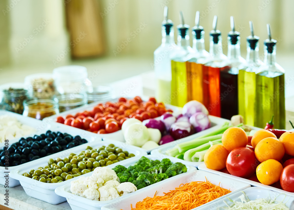 Salad Bar With Vegetables In The Restaurant Healthy Food Poster