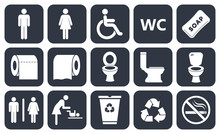 Toilet Vector Icons Set, Boy Or Girl Restroom Wc