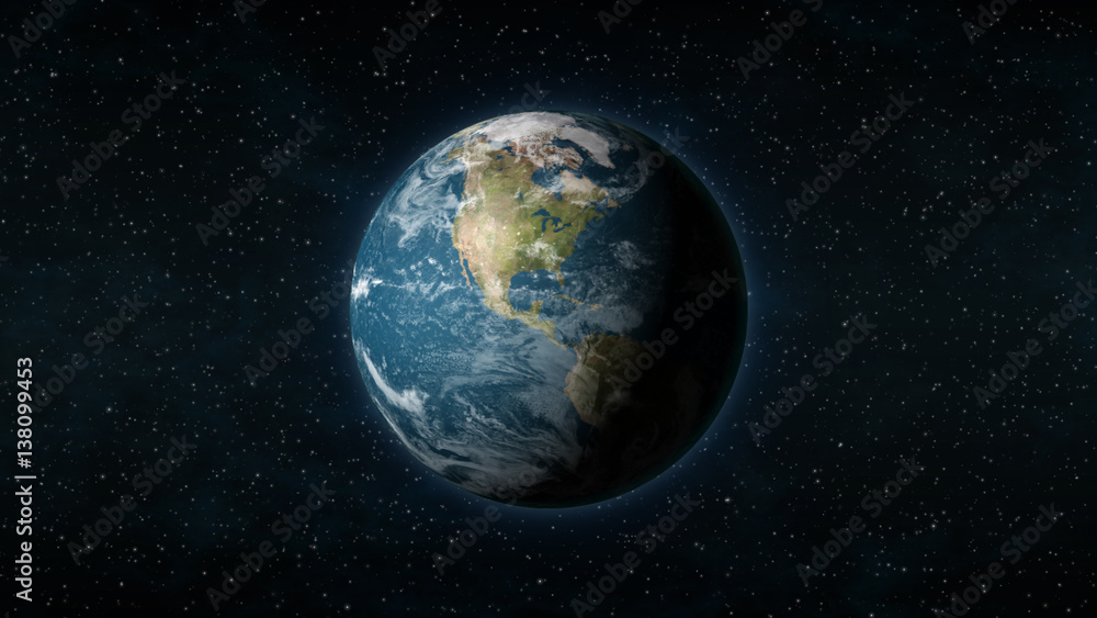 Fototapety, obrazy: Realistic Earth centered on the North American continent, with stars in the background